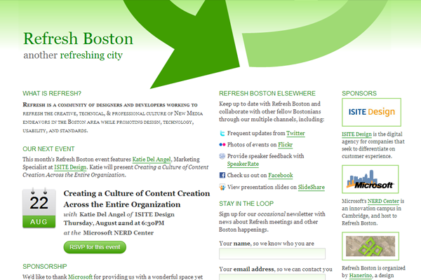 refresh boston 2013 website layout inspiration