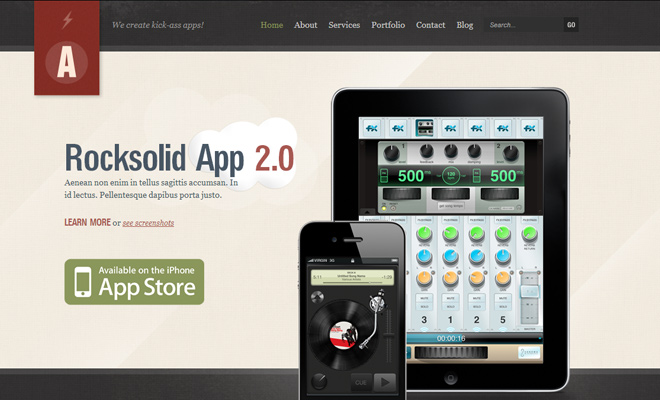 Rocksolid mobile app Grunge WordPress Themes