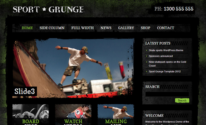 Sport and Grunge dark WordPress Themes