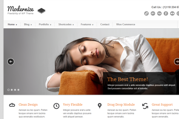 modernize wordpress premium theme design