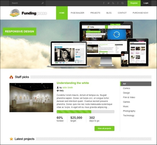Fundingpress is a WordPress theme that allows you to create your own crowdfunding site.Users will be able to create projects that are brought to life through the direct support of others.