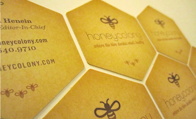 honey colony business card design orange