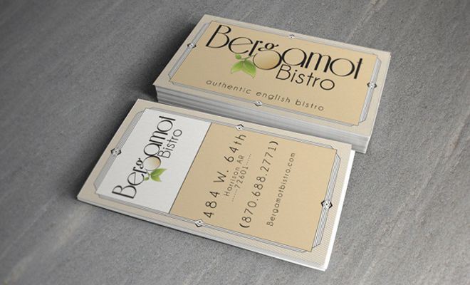 bergamot bistro business card print design