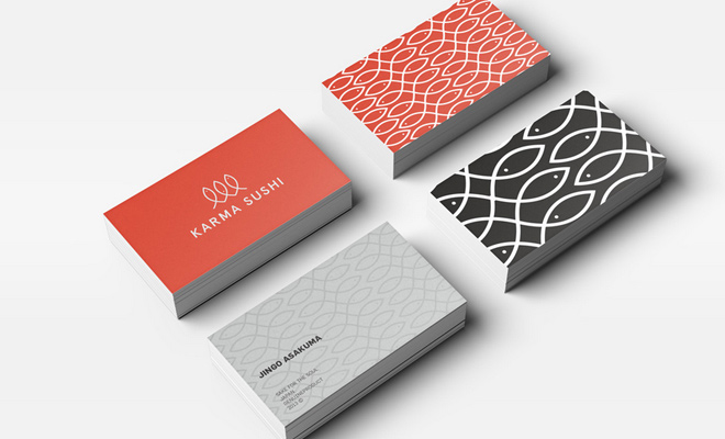 karma sushi print business card branding design