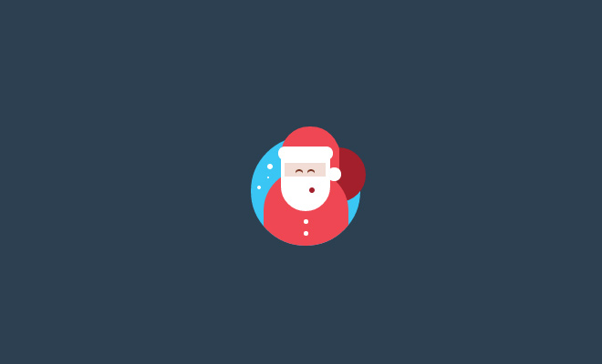 pure css flat santa icon open source