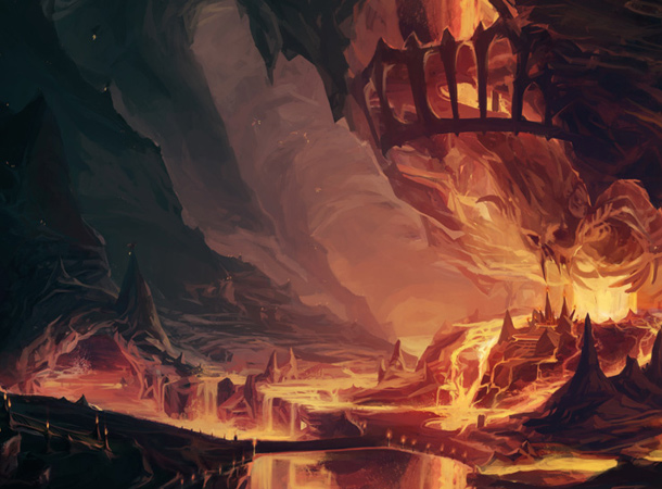 hell goblet environment dark lava painting