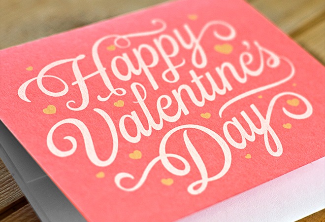 valentine day script card writing design
