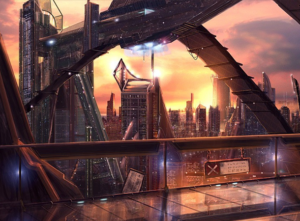 the city of lights environment futuristic city