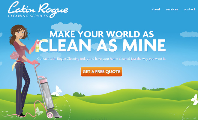 latin rogue cleaning website layout vectors