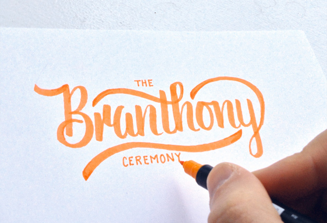 branthony script writing text type design