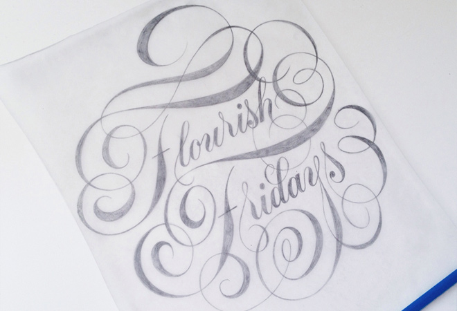 flourish friday script lettering writing design print