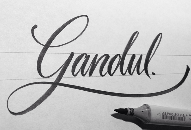 gandul written script writing design