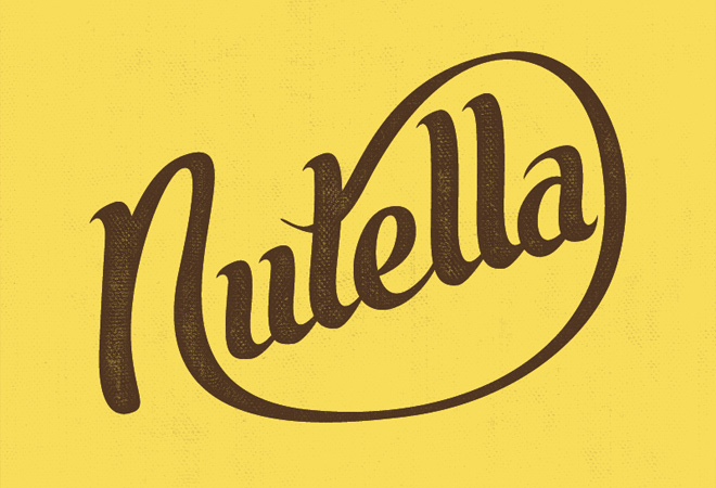 nutella script writing typography brown yellow
