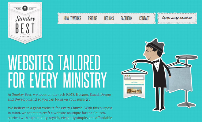 sunday best designs website layout vector character
