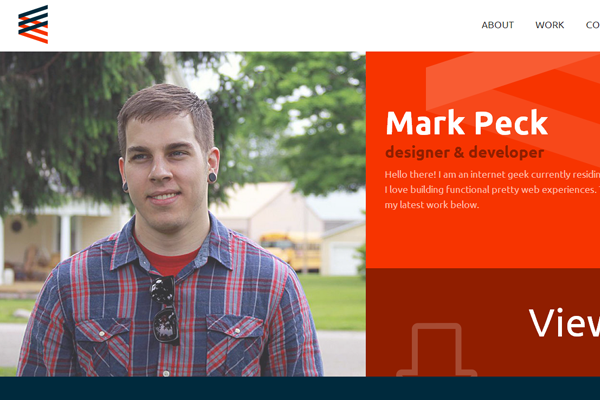 portfolio red orange website layout mark peck