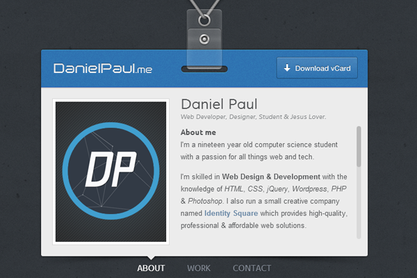 dan paul daniel vcard portfolio website