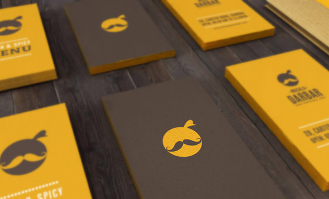 classy mustache business cards restaurant food