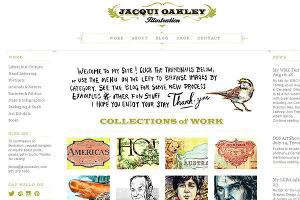 jacqui oakley website layout design