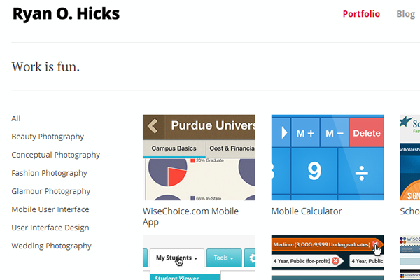 ryan hicks portfolio website freelancer