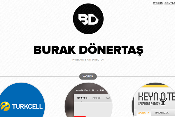 burak donertas portfolio website layout