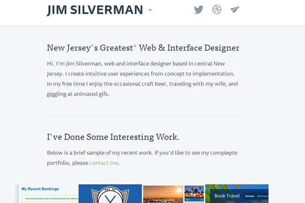 jim silverman portfolio website layout
