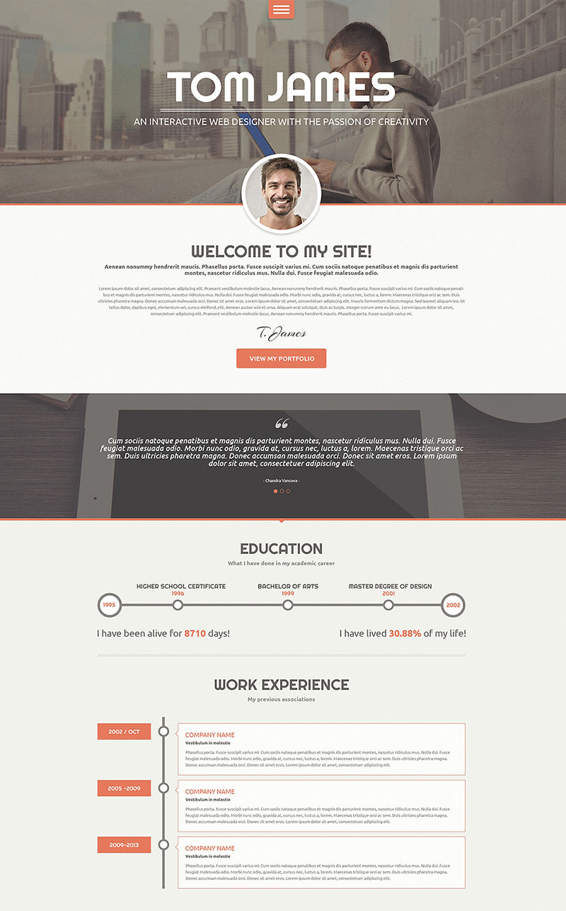 Web Designer CV WordPress Theme