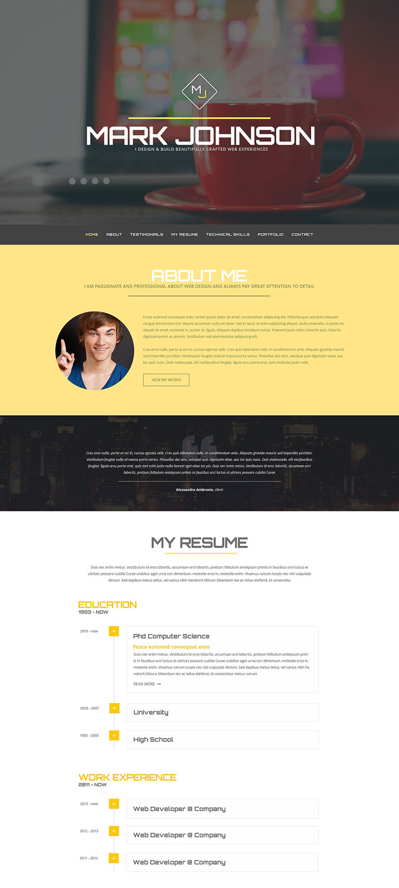 Personal Page of Web Designer WordPress Theme