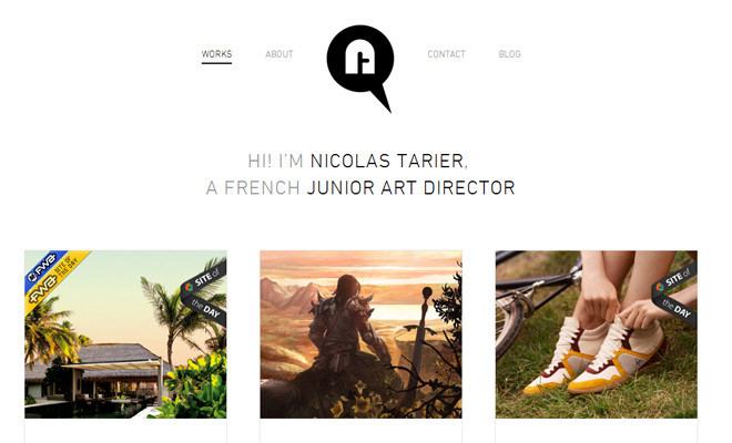 nicolas tarier junior art director portfolio website