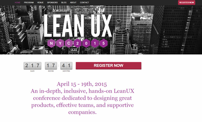 lean ux 2015 conference website design
