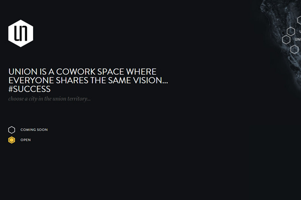 union cowork space dark simple website homepage