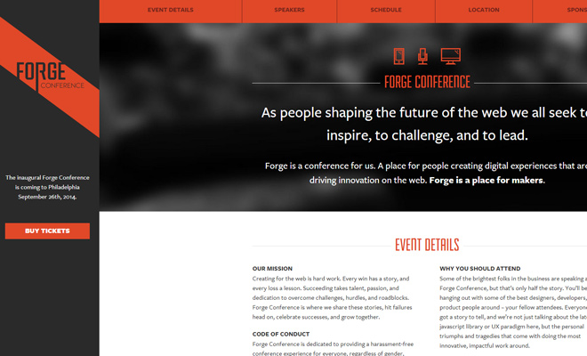 forge conference 2014 philadelphia website homepage