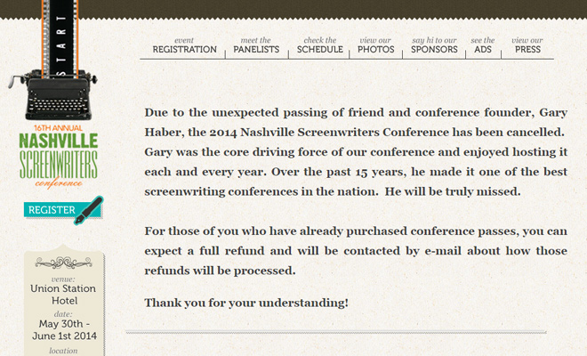 nashville screenwriters conference website