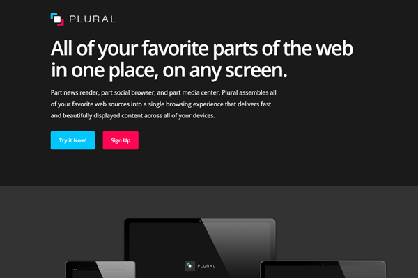 plural app news reader dark website homepage