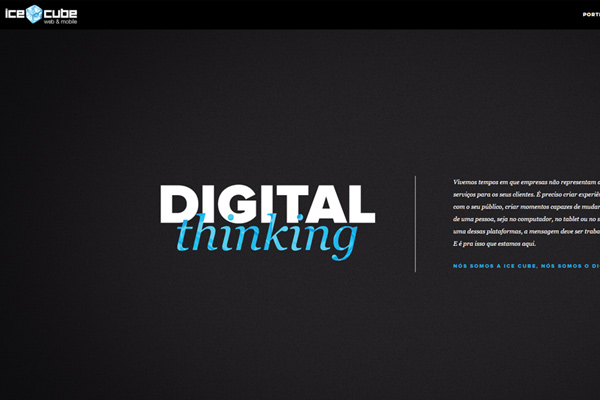 ice cube web design development dark homepage