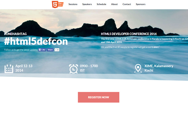 html5 dev conference 2014 website homepage