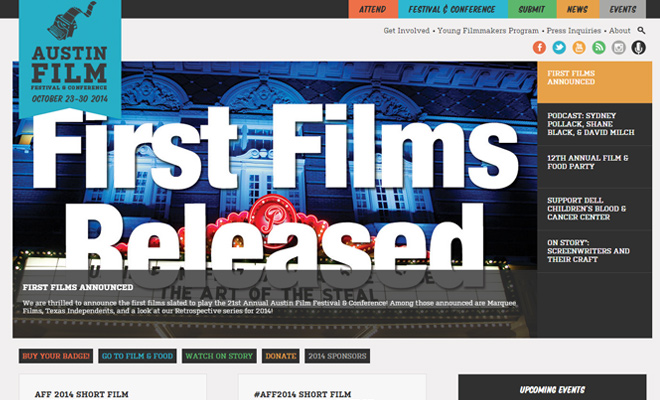 austin film festival website homepage