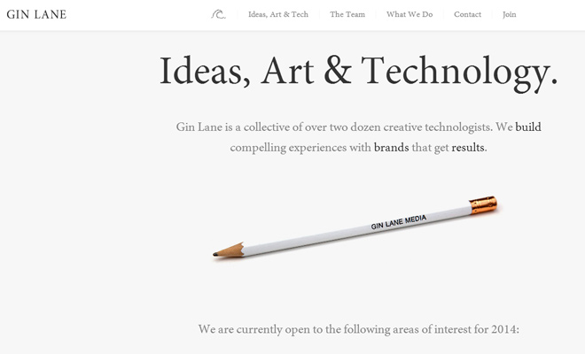gin lane media dark website layout inspiration