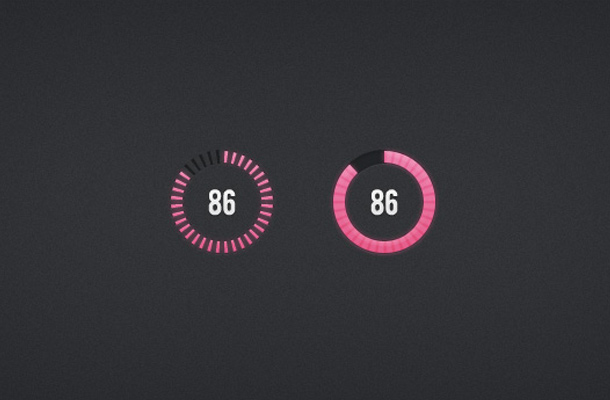 pink circular dial progress indicators