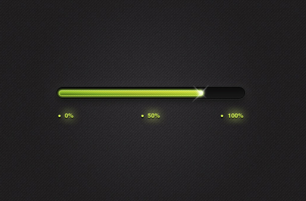 bright green glossy progress bar