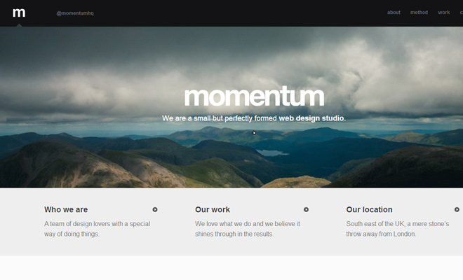 momentum creative design studio website