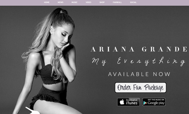 ariana grande actress performer personal website