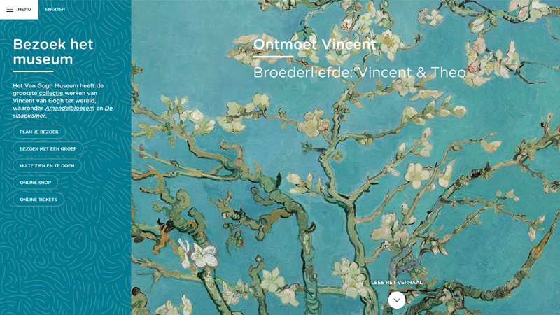 van gogh museum website layout inspiration