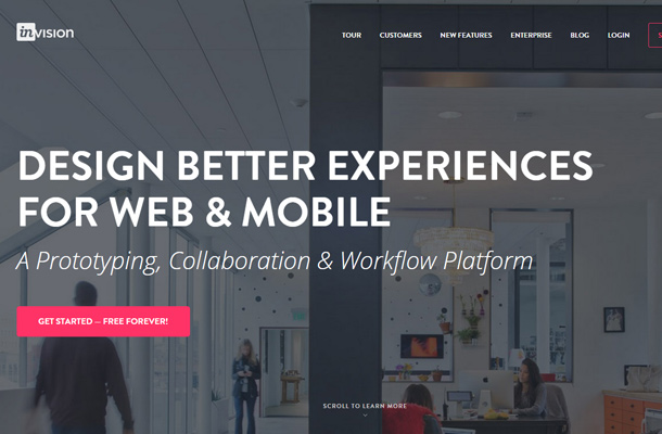 invision app fullscreen typography web design