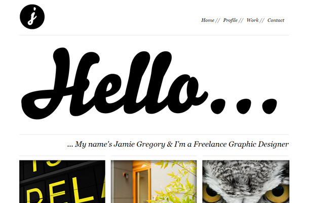 jamie gregory personal freelance portfolio website