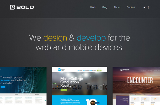 bold dark design development mobile apps