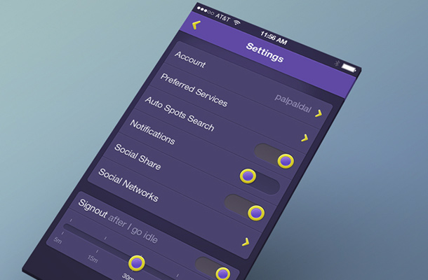purple settings app ui mobile iphone
