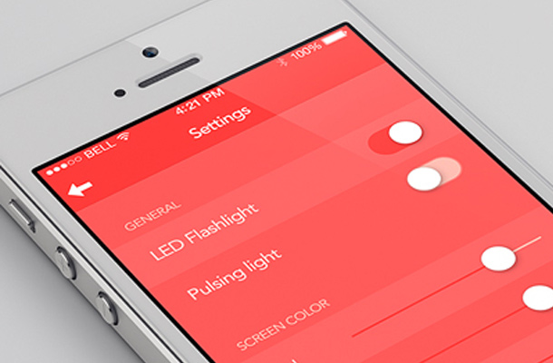 red settings menu ui app design