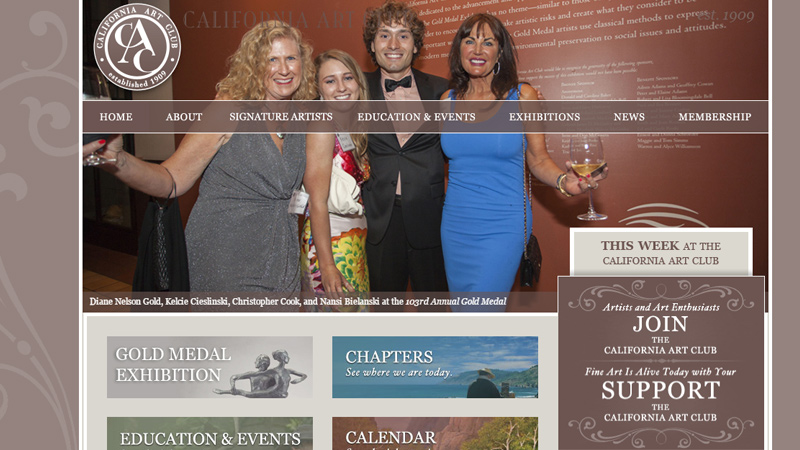 california art club website homepage