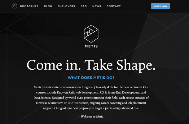 metis ruby on rails website dark layout