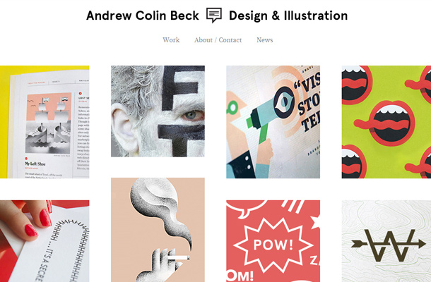 andrew colin beck website layout